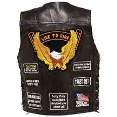 "Diamond Plate Gold Eagle Patch Buffalo Leather Motorcycle Vest with Side Laces has a large gold ""Live to Ride"", Eagle patch on back with assorted biker patches below and on the front. This leather motorcycle vest will keep you cool from head to toe on the warmest days with side laces which also provides additional side adjusting."