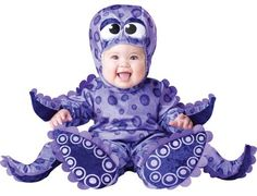 Just imagine the mess eight arms could create...Luckily it's just a Halloween costume!  #halloween #costume #baby #funny #cute #octopus
