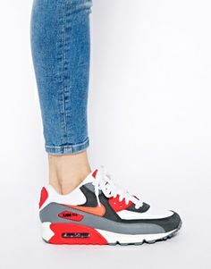 Nike Air Max 90 Essential Grey/Red Trainers