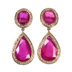 Diamond, ruby & yellow-gold earrings Pink... statement earrings drop shaped