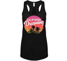 California Dreaming Palm Trees Sunset Beach Travel Vacation Ladies Tan – California T Shop Palm Tree Sunset, Sunset Beach, Palm Trees, Beach Travel, Beach Trip, Vacation Trips, Beach T Shirts, Athletic Tank Tops, California