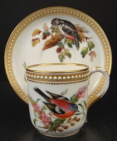 """""""Porcelain demitasse cup  saucer  produced by Royal Worcester in the 1870s."""