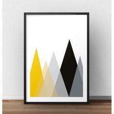"""Plakat """"Góry"""" to typowo skandynawska dekoracja ściany bądź półki. Pięć kolorowych ostrokątnych trójkątów przeplecione ze sobą dają ciekawy efekt."""