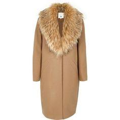 River Island Camel faux fur collar coat ($180) ❤ liked on Polyvore featuring outerwear, coats, coats / jackets, women, camel coat, long sleeve coat, beige coat, river island coats and tall coats