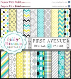 50% off DIGITAL PAPERS IN turquoise gray yellow and black scrapbook paper chevron, damask, quatrefoil, polka dots