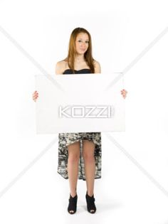 teen display - A teen model holding up a blank sign