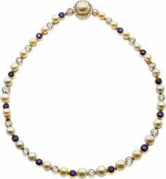 58176: Natural and Cultured Pearl, Diamond, Sapphire, P : Lot 58176