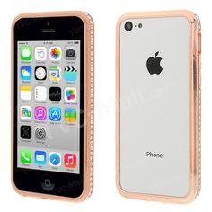 Champagne #2in1 Plastic & Metal #Diamante Bumper Case for #iPhone5c