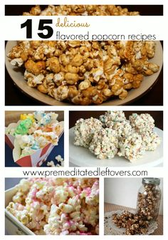 15 Delicious Flavored Popcorn Recipes - Create a delicious flavored popcorn with one of these recipe including caramel popcorn, s'more popcorn, and more! Flavored Popcorn, Popcorn Recipes, Snack Recipes, Dessert Recipes, Cooking Recipes, Popcorn Snacks, Popcorn Balls, Healthy Recipes, Oreo Dessert