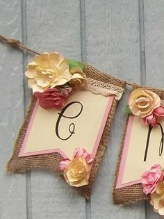 Handmade Banner Custom made Burlap Floral by LorisBannerBoutique Party Banners, Name Banners, Custom Banners, Paper Magic, Banner Ideas, Baby Shower, Diy Party Decorations, Cold Porcelain, Garlands