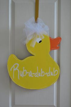 Perfect for a baby shower or kids bathroom!!!    Rubber Ducky Door Hanger by ABobbinnapaintbrush on Etsy, $30.00