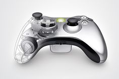 XBOX 360 controller, wireframe, plastic, gray