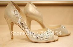 BS241  free shipping golden bridal shoes with clear rhinestones-in Pumps from Shoes on Aliexpress.com