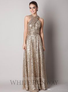 maid of honor on sale at reasonable prices, buy Rose Gold Champagne Sequin Bridesmaid Dresses 2016 New High Neck Corset Bling Sequined Long Maid of Honor Wedding Guests Dress from mobile site on Aliexpress Now! Sequin Bridesmaid Dresses, Backless Prom Dresses, Gold Bridesmaids, Mob Dresses, White Ball Gowns, Multi Way Dress, Girls White Dress, Maid Of Honour Dresses, Evening Gowns