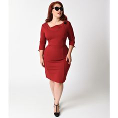 Unique Vintage Plus Size 1940s Style Burgundy Carmen Half Sleeve... ($51) ❤ liked on Polyvore featuring plus size women's fashion, plus size clothing, plus size dresses, red, vintage style dresses, long red dress, red cocktail dress, plus size white dress and sexy cocktail dresses