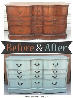 Dresser in distressed Pale Aqua - Before and After from Facelift Furniture - liposuction plastic surgery Aqua Painted Furniture, Annie Sloan Painted Furniture, Repurposed Furniture, Colorful Furniture, Furniture Fix, Selling Furniture, Furniture Ideas, Furniture Makeover, Bedroom Furniture