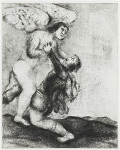 Jacob Wrestling with The Angel - 1931  by: Marc Chagall