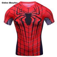 Camiseta homens 2016 verão respirável de compressão de secagem rápida camisa do homem aranha de manga curta aptidão T - camisa europa tamanho M-XXL //Price: $US $16.99 & FREE Shipping //    #ironman #spiderman #homemaranha