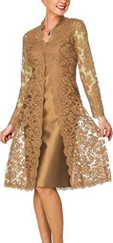 D Women's Sheath Short Satin Mother of The Bride Dress with Lace Jacket Gold Stylish Dresses, Fashion Dresses, Dress Brokat, Plus Size Party Dresses, Short Dresses, Formal Dresses, Bride Dresses, Wedding Dresses, Lace Jacket