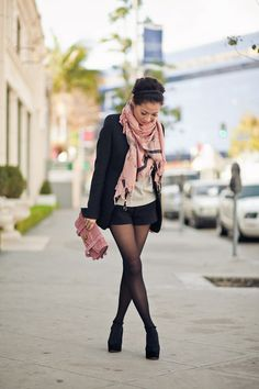 pink scarf & purse #pink #girly +++For tips + ideas on #style and #fashion,visit http://www.makeupbymisscee.com/