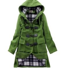 Charex Woolen Coat Hooded Winter Horn Button Trench Coat Women (Large, Green)