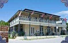 Island Hotel in Cedar Key ~ built of Cypress wood and Tabby Cedar Key Florida, Old Florida, State Of Florida, Florida Travel, Hearts Of Palm Salad, Places Ive Been, Places To Go, Cypress Wood, Florida Living