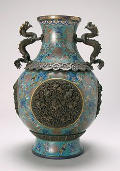 Rare Chinese #Cloisonné Enamel Dragon Vase, #Ming Dynasty (1620),