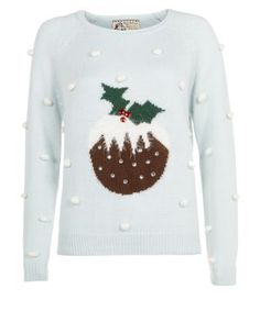 New Look bobbly Christmas pudding jumper