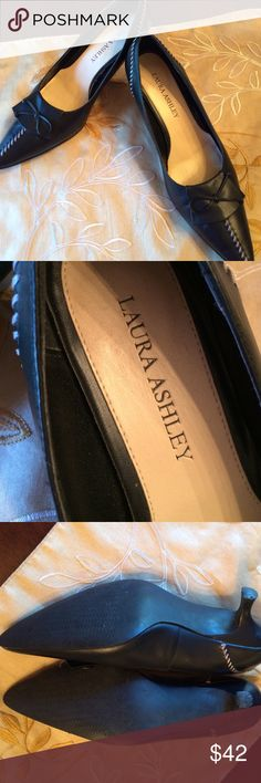 Laura Ashley Black Shoe Pointed Toe W Kitten Heel Gorgeous tailored black w tan stitching grabs  attention. This can go to the office then an important dinner. Love the kitten heel! Super condition Laura Ashley Shoes Heels