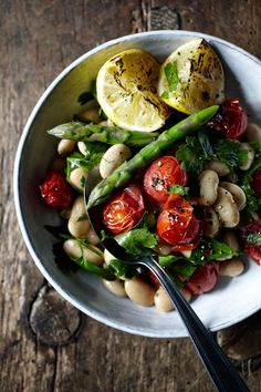 // Cannellini-bean-salad - sorry all, realized that this is just a picture. here is a recipe but be sure and roast the tomatoes and asparagus. I also add feta instead of mozzarella for an extra zing.