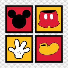 Mickey Mouse Kunst, Mickey Mouse Crafts, Fiesta Mickey Mouse, Mickey Mouse Parties, Mickey Party, Theme Mickey, Mickey Mouse Clubhouse Birthday, Mickey Birthday, Kids Canvas