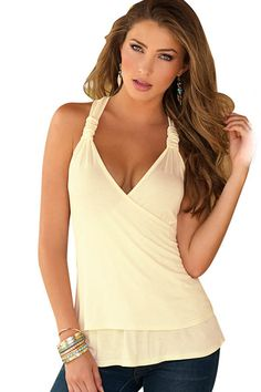 da26ee9f05e2c Women Apricot Lace Halter Open Back Sexy Tank Top - L Low Cut Tank Tops