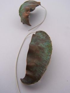 Veridgris Copper Fold Formed Earrings Canna by CynthiaDelGiudice