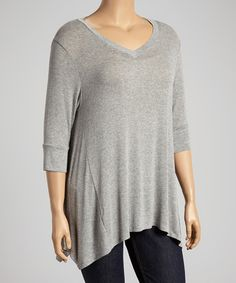 Take a look at the Chris & Carol Heather Gray Sidetail Tunic - Plus on #zulily today!
