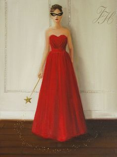 Fairy Godmother- Original Oil Painting by Janet HIll Godmother Dress, Fairy Godmother, Janet Hill, Cinderella Dresses, Timeless Beauty, Art Studios, Girly Girl, Plus Size Dresses, Pink Dress