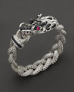 John Hardy Batu Naga Silver Dragon Head Bracelet on Medium Braided Chain with African Ruby and Black Sapphire