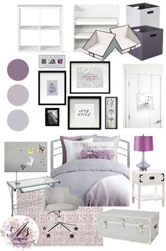 Moodboard Monday: College Dorm Back to School on this Moodboard Monday It is that time of year again, the kids heading back to school. Here is a college dorm idea. It is light and bright, a little glam, and ultra feminine. Light Purple Rooms, Purple Dorm Rooms, Purple Bedrooms, Girls Room Purple, Dorm Color Schemes, Dorm Room Colors, Dorm Room Themes, Lavender Room, Dorm Room Designs