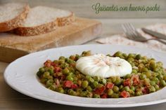 Guisantes con huevos poché - MisThermorecetas Allrecipes, Hummus, A Food, Tacos, Mexican, Chicken, Meat, Vegetables, Cooking