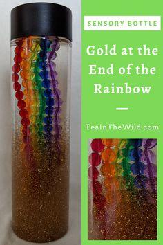 In my End of the Rainbow sensory bottle gold glitter slowly falls, revealing a rainbow inside the bottle! Rainbow Sensory Bottles, Sensory Bottles Preschool, Glitter Sensory Bottles, Sensory Bags, Sensory Activities, Activities For Kids, Sensory Rooms, Sensory Play, Calm Down Jar