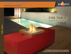 """FIRE TABLE is our outdoor gas fireplace model with input rate 60,000 Btu/h for NG or LP. Its 20"""" burner made of 304 stainless steel to withstand weather elements. The enclosure is powder coated and comes with vinyl cover. FIRE TABLE features standing pilot system and White Rogers safety gas valve.This fireplace will make a focal point to any patio. Please visit our web-site for more details. We ship all over North America! Designer's and Dealer's discounts available. Outdoor Gas Fireplace, Gas Fireplaces, Electric Fireplace, Fireplace Showroom, Custom Fireplace, Biofuel Fireplace, Fire Table, Fireplace Inserts, Fireplace Accessories"""