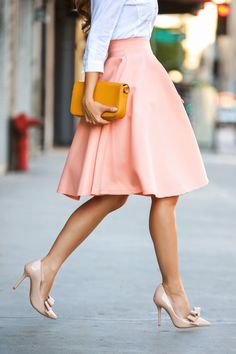 Ladylike. Love this pastel pink full skirt! great color.
