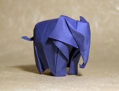 A collection of origami elephants including this one designed by Li Jun and folded by Nyanko Sensei. Has a link to YouTube video instructions.