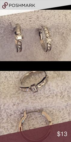 CZ hoop earrings Dressy hoops. Never worn. NWOT Jewelry Earrings