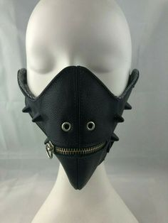 Black Leather Spike & Zipper Mouth Half Mask Cosplay Horror Halloween Anime Punk #Unbranded #Half Victorian Gothic, Gothic Lolita, Half Mask, Gothic Accessories, Psychobilly, Rockabilly, Cyber, Horror, Black Leather