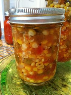 Farmers Market Corn Salsa is sweet and hot and perfect for chips. I love to use it on top of chicken or fish also! Make it as hot as you can stand it! Canning Corn, Canning Salsa, Canning Pickles, Canning Tips, Salsa Canning Recipes, Canning Peaches, Jam Recipes, Snack Recipes, Healthy Recipes