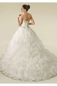 Dipped Neckline Princess Gown with Beadings, Sequins and A Splendid Ruffled Skirt : Lamistore.com