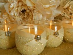 DIY Votive Candles Spray Paint Painters Tape Glitter Ribbon Gem Glue Gun