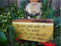 Pflanzen- & Gartenstecker - winterfester Grabschmuck mit gefrästem Wunschtext - ein Designerstück von raupenholz bei DaWanda