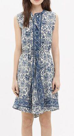 Silk Journey Shirtdress in Porcelain Floral