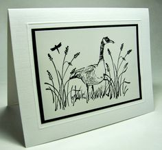 """By Laurie. Masculine card using stamps from """"Wetlands"""" by Stampin' Up. Image: black StazOn on glossy paper."""